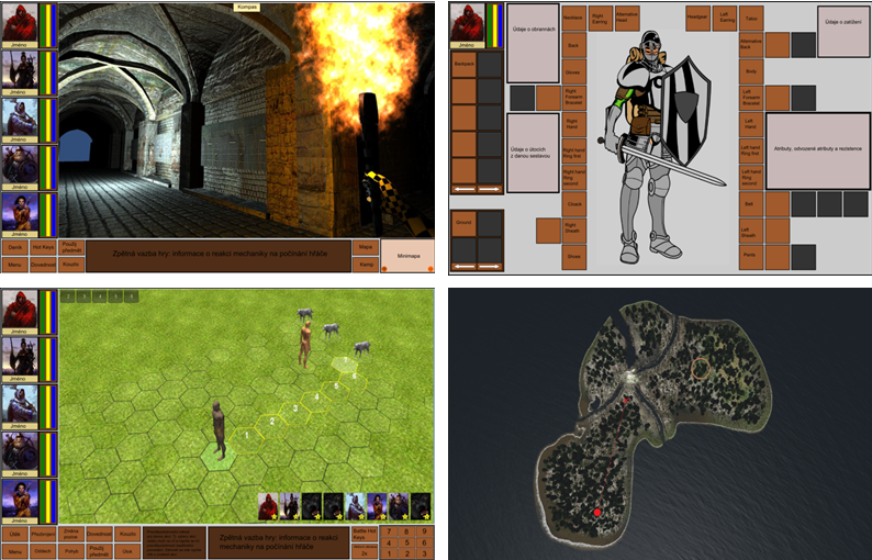 Top left: The GUI of the first person ; top right : GUI inventory; below left : GUI for battle ; bottom right : traveling around the map.