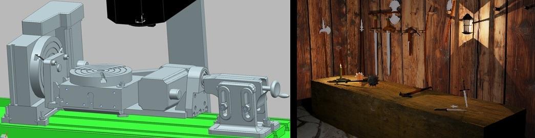 vlevo součást diplomové práce – přesný model kolébky pro frézku, vpravo model zbrojnice